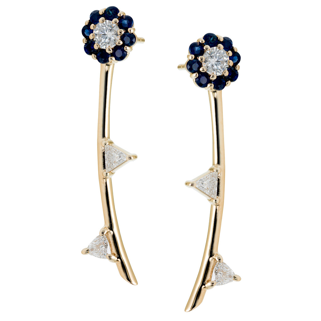Irini Blue Sapphire Full Bloom Earrings with white diamond leaves in 14k gold, post back  can be work as a pair or as a single earring, a edgy design to a classic design, made in nyc
