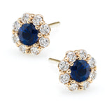 IRINI FULL BLOOM FLOWER EARRINGS, DIAMOND PETALS WITH BLUE SAPPHIRE CENTER, 14K GOLD WITH POST BACK, YOUR NEW CLASSIC AND GO TO EARRING, MADE IN NYC