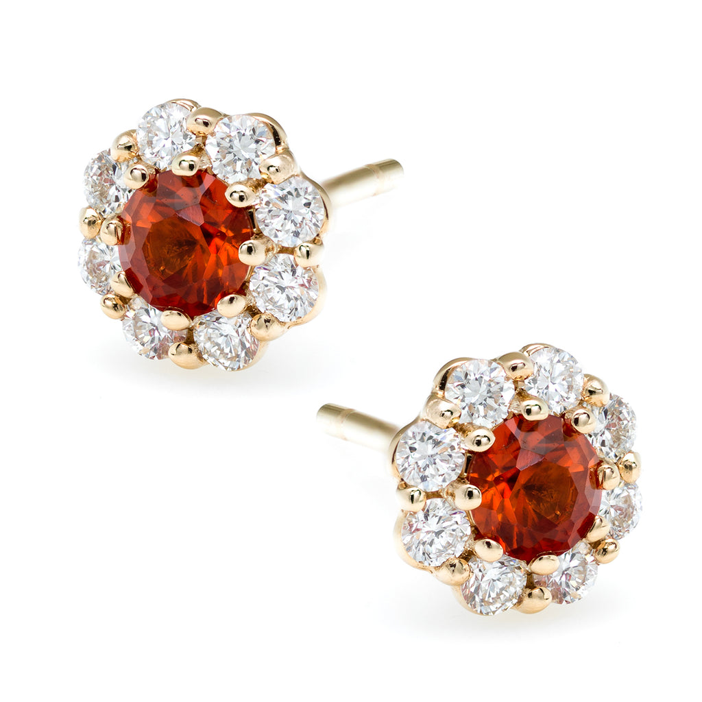 IRINI FULL BLOOM FLOWER EARRINGS, DIAMOND PETALS WITH ORANGE SAPPHIRE CENTER, 14K GOLD WITH POST BACK, YOUR NEW CLASSIC GO TO EARRINGS, MADE IN NYC