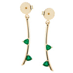 Emerald trillion leaves on 14k gold stem, earring backs, update your ear game with these perfect earrings, mix and match with your favorite Irini Full Bloom Flower studs
