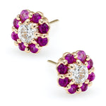 Irini Full Bloom Petite Pink Sapphire flower earrings, diamond center, 14k gold post back earrings, ear party approved, made in nyc, sold individually or as set, your new classic go to earring