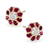 Irini Ruby and diamond petite full bloom flowers, post back14k gold earrings, these beauties will be your new classic and go to
