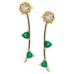 Irini Full Bloom, Emerald, Diamond and Yellow Sapphire earrings, post back in 14k gold, diamond flowers that live forever, the new classic earring you need