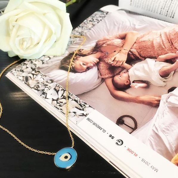 IRINI EVIL EYE, ENAMEL SWIRL OF PROTECTION CLOSE TO YOUR HEART, NECKLACE, GOLD, SILVER, PROTECTION IN GLAMOUR MAGAZINE