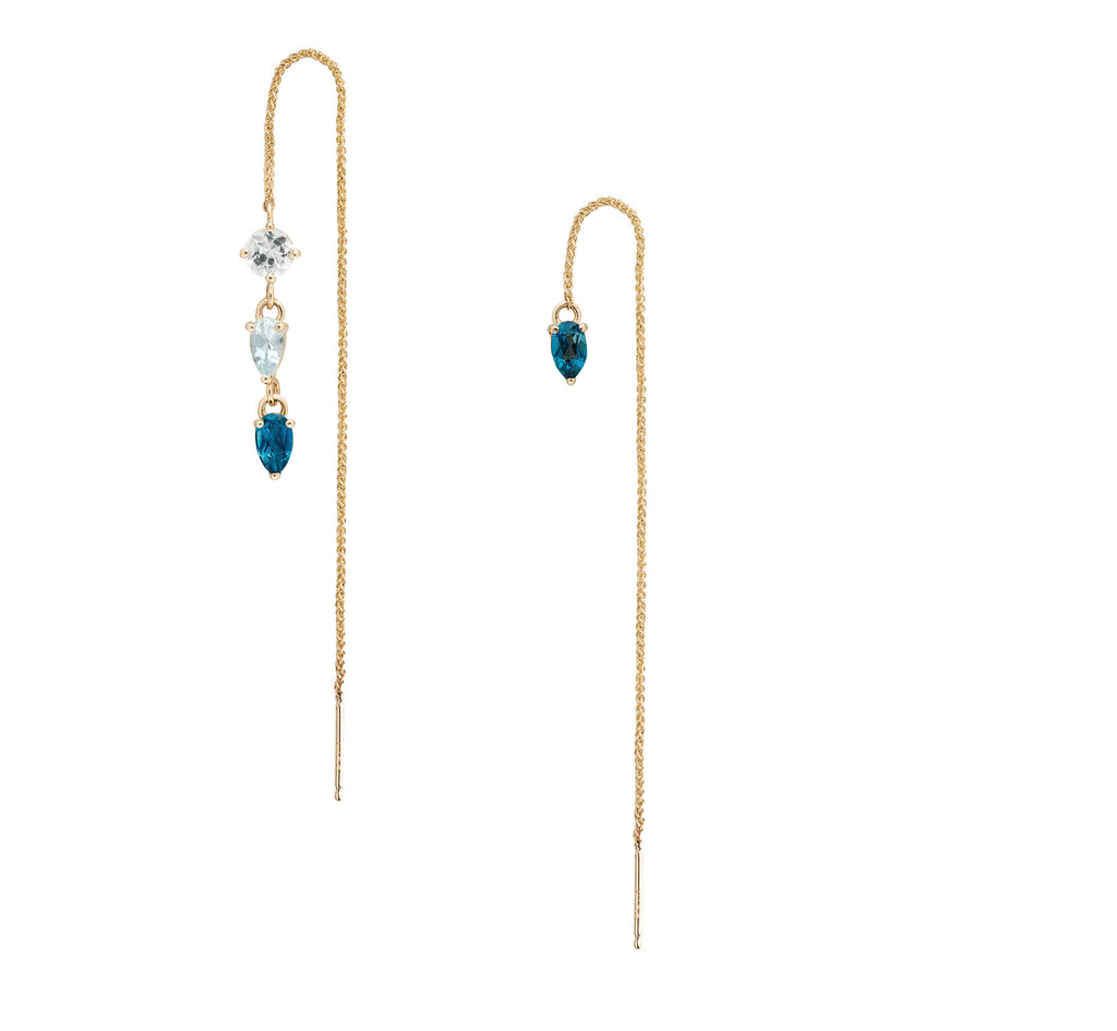 IRINI Gem Drop thread earring in 14k gold with a white sapphire, light blue topaz and london blue topaz gemstone, simple, delicate perfection
