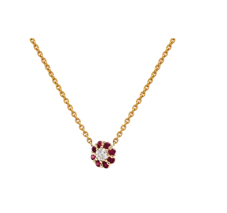 IRINI FULL BLOOM BUD NECKLACE, RUBY PETALS DIAMOND CENTER FLOWER ON 14K YELLO GOLD CHAIN, YOUR NEW HEIRLOOM, ELEGANT AND CLASSIC