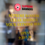 Adhesive Banner - Transparent Back Window Decal - Supreme Banners