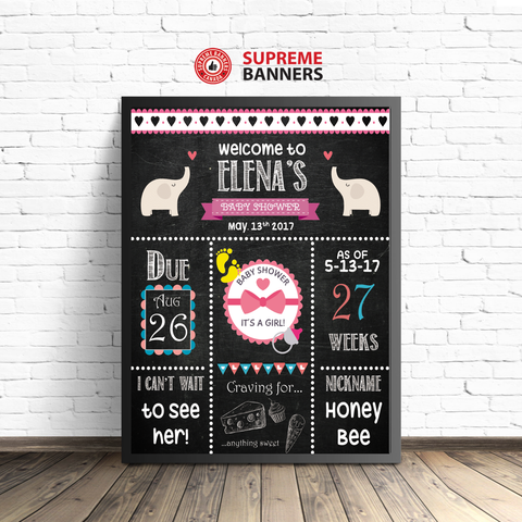 """Baby Shower for A Girl"" Elephant Themed Chalkboard-Look Sign (Digital/Printed) - Supreme Banners"