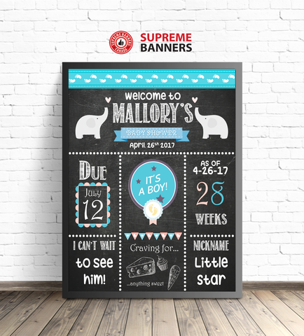 """Baby Shower for A Boy"" Elephant Themed Chalkboard-Look Sign (Digital/Printed) - Supreme Banners"