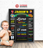 """Baby Boy 1st Birthday"" Super Hero Themed Chalkboard-Look Sign (Digital/Printed) - Supreme Banners"