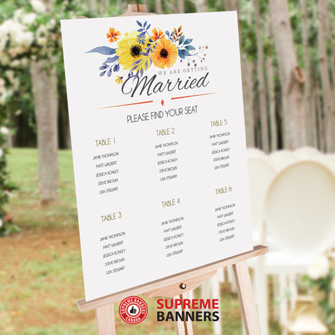 Seat Chart / Guest List - Yellow Sunflower Theme (Digital/Printed) - Supreme Banners