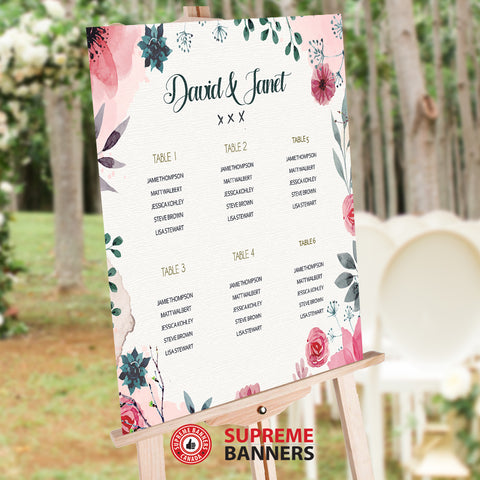 Seat Chart / Guest List - Vintage Watercolor Pink Flower Theme (Digital/Printed) - Supreme Banners