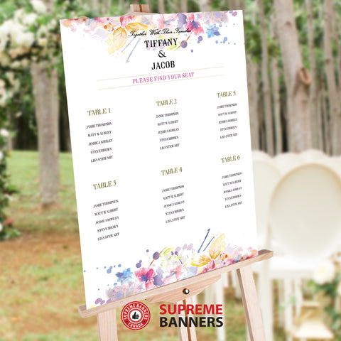 Seat Chart / Guest List - Elegant Watercolor Flower Theme (Digital/Printed) - Supreme Banners
