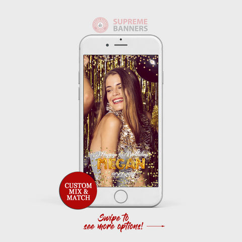 Custom Made Snapchat Geofilter - Gold Foil Balloon Theme Birthday Snapchat Geofilter - Supreme Banners