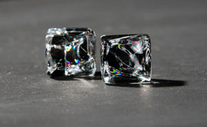 Stunning, Cool Square Shaped Black and Crystallized Glass Studs