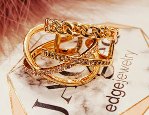 Infinity 18 k gold plated ring with stones OR 18k gold chains ring and stones