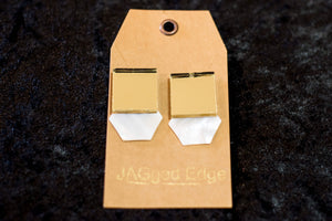 Gold and White Statement Earrings