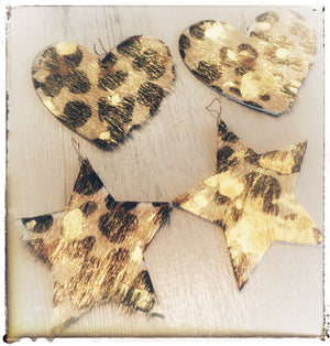 Leopard Stars or Hearts Cowhide Ear Candy