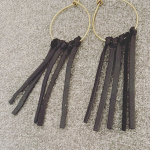 Black leather fringe hoops