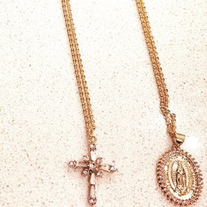 18k gold cross or Mother Mary necklaces