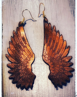 Brown leather intricate angel wings