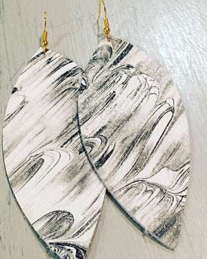 Black, silver, and white brushstrokes leather earrings