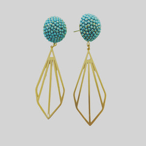 Turquoise & Brass Diamonds