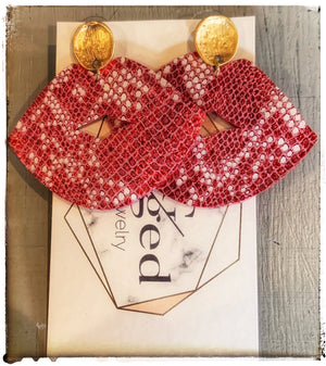 Red Lace Studs
