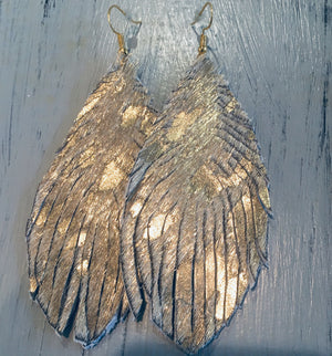 Gold foiled cowhide hair feathers!