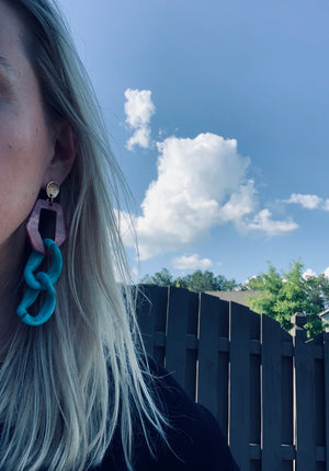 Sienna and Turquoise Statement earrings