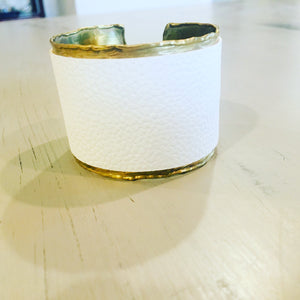Sophisticated white leather cuff