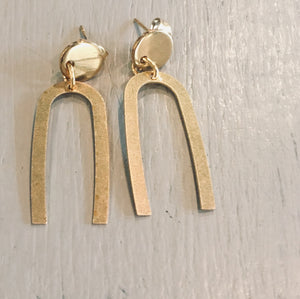Brass modern day minimalist dangle earrings