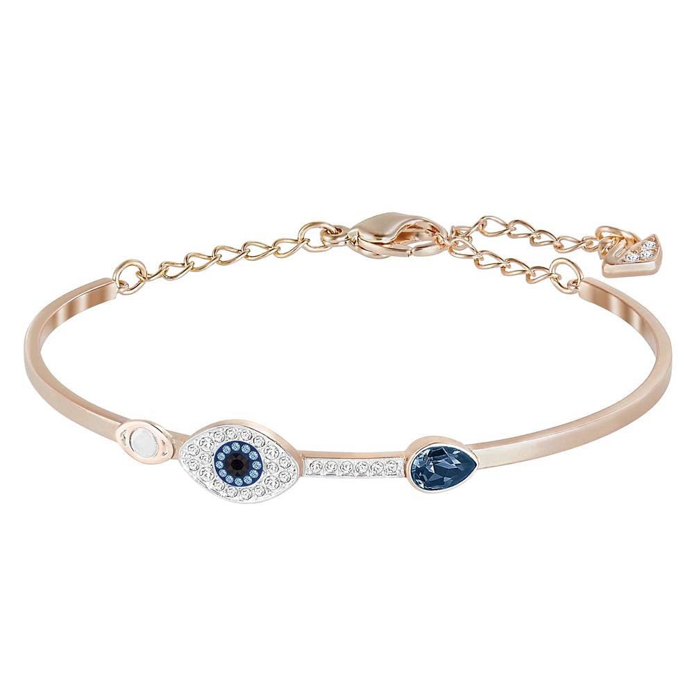 SWAROVSKI DUO EVIL EYE BANGLE, BLUE, MIXED PLATING