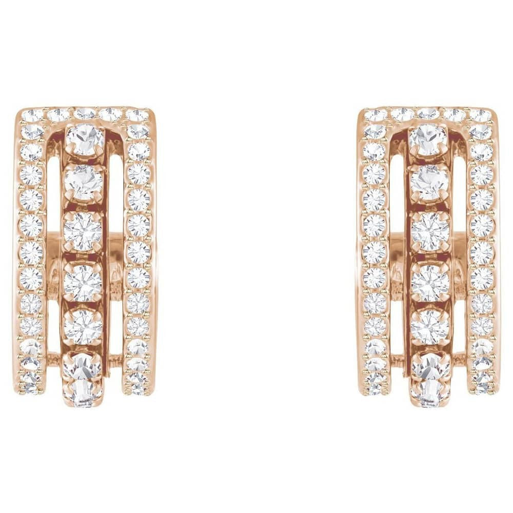 SWAROVSKI FURTHER PIERCED EARRINGS, WHITE, ROSE GOLD PLATING