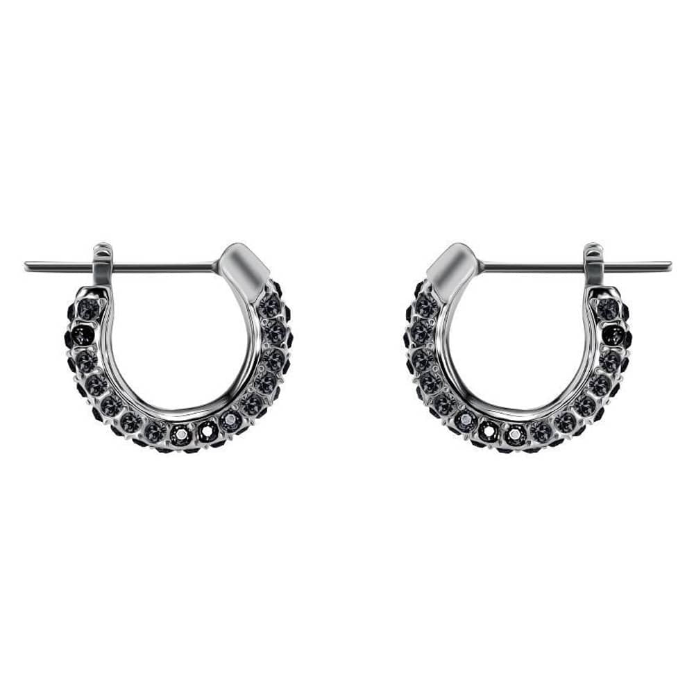 SWAROVSKI STONE PIERCED EARRINGS, SMALL, BLACK, RHODIUM PLATING