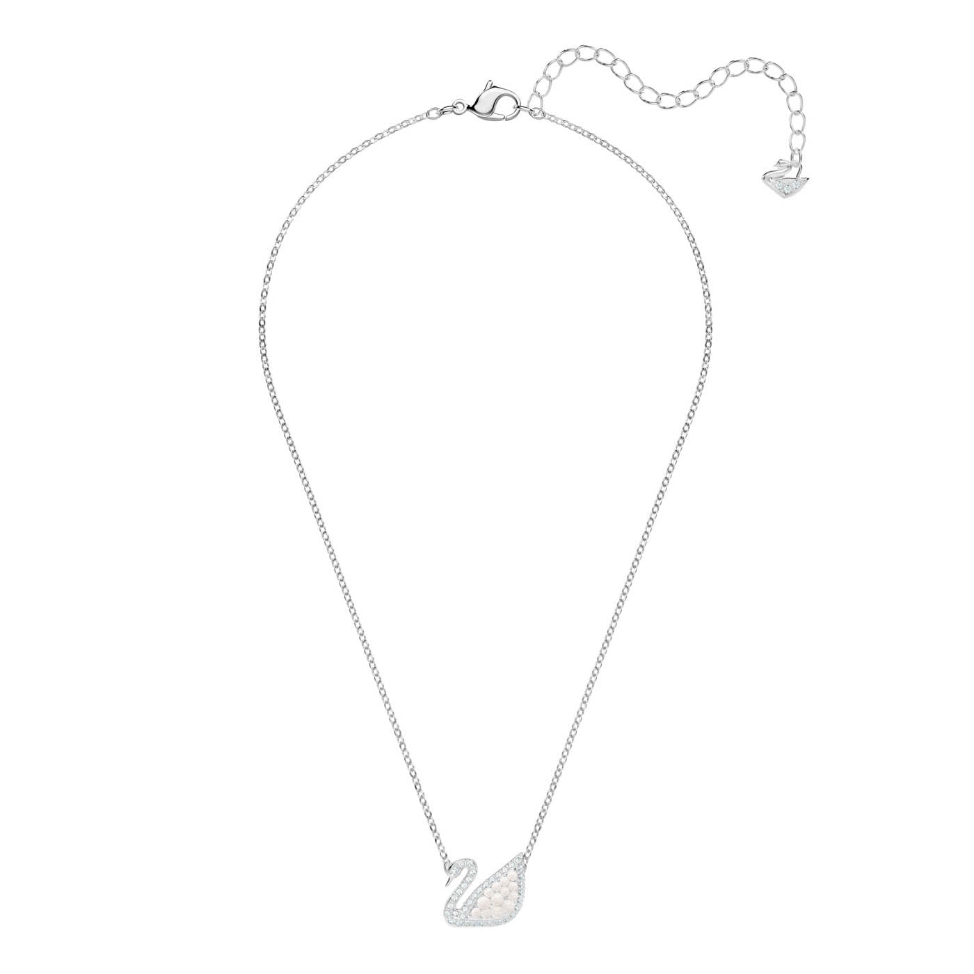 SWAROVSKI ICONIC SWAN NECKLACE, WHITE, RHODIUM PLATING