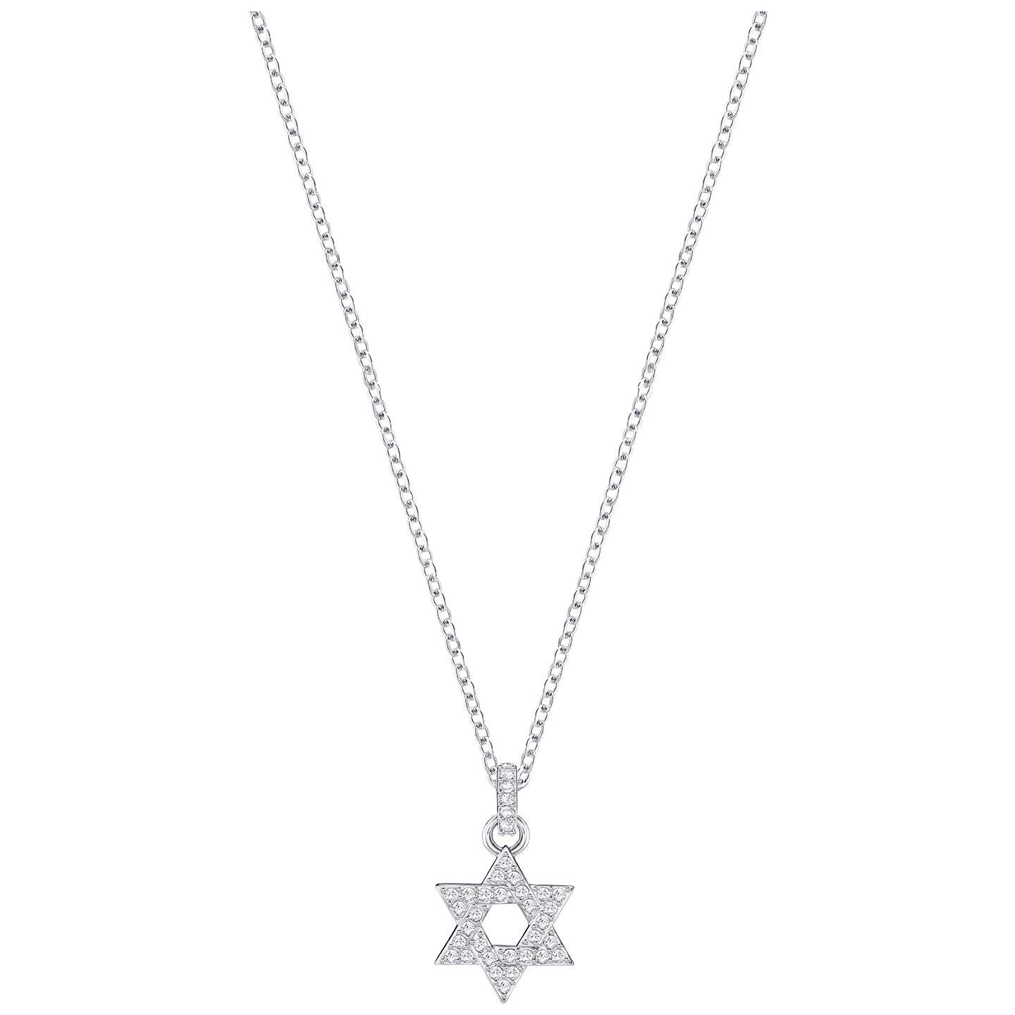 SWAROVSKI STAR OF DAVID PENDANT, WHITE, RHODIUM PLATING