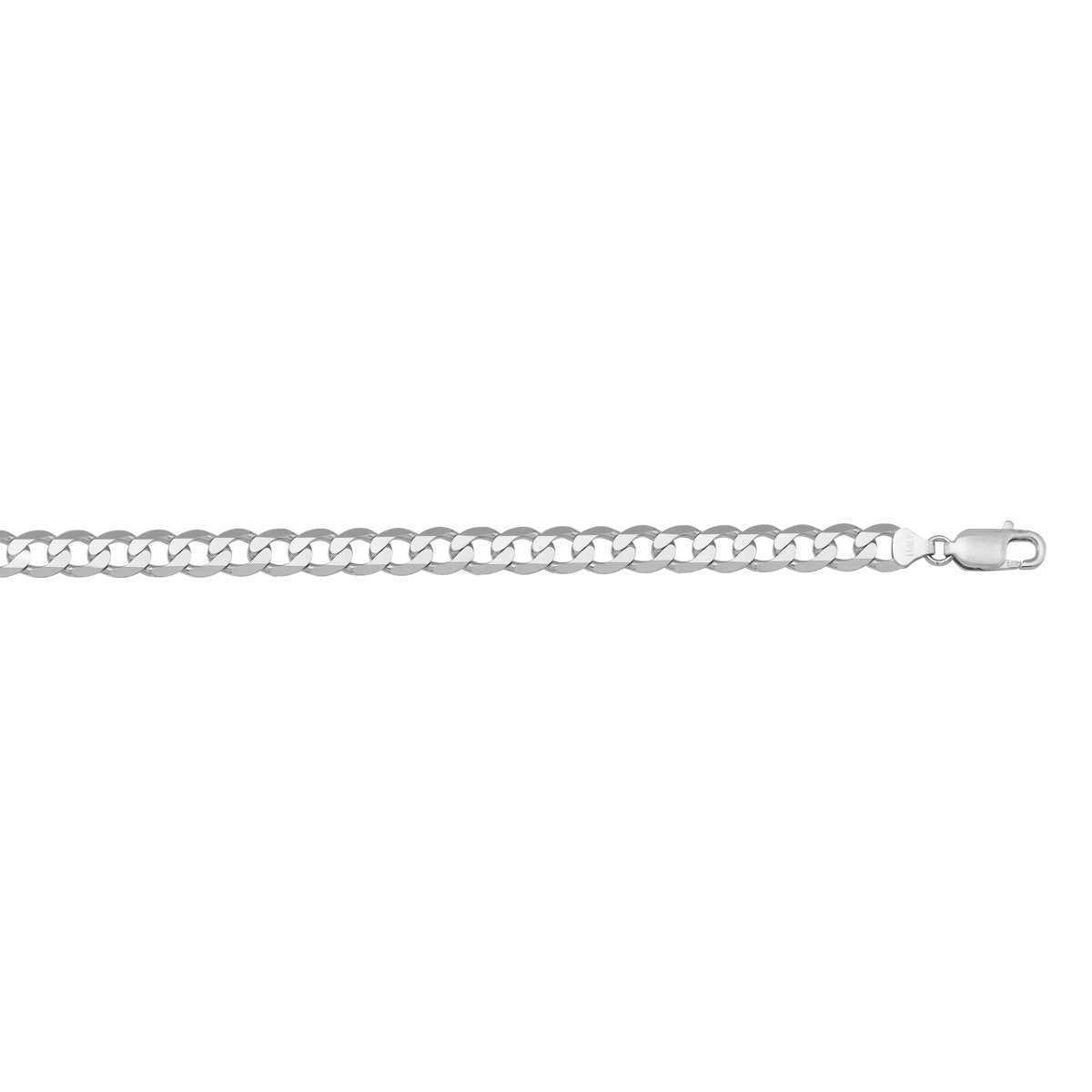 WHITE GOLD SOLID OPEN LINK (LOBSTER CLASP) CHAIN