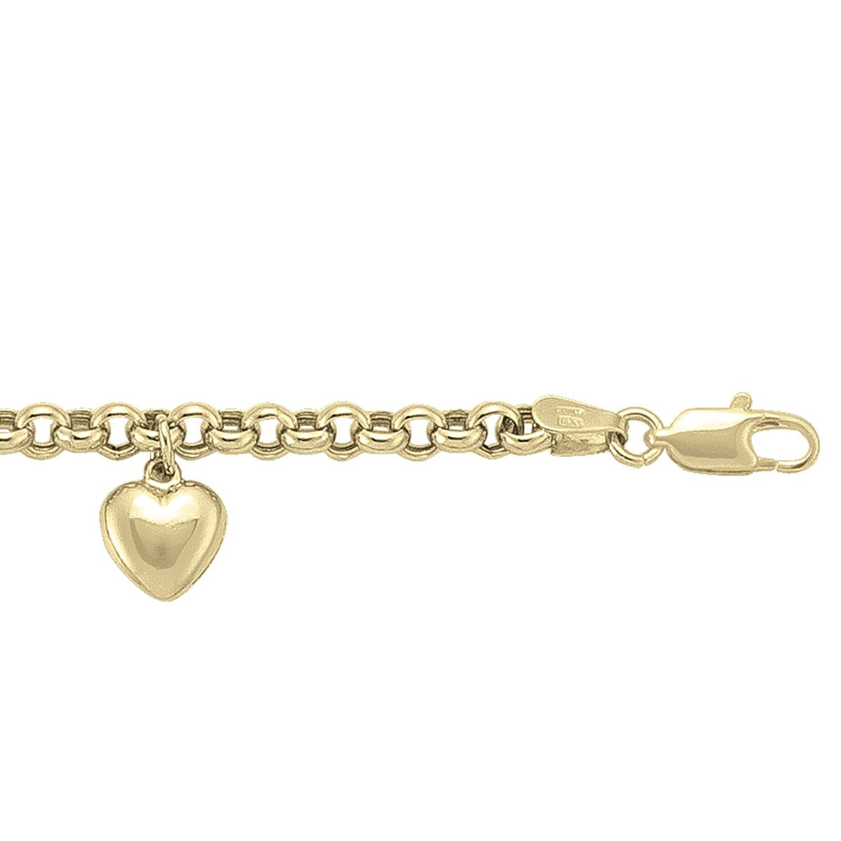 YELLOW GOLD HOLLOW ROLO CHARM BRACELET