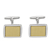 TWO TONE GOLD FANCY RECTANGULAR CUFFLINKS