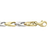 TWO TONE GOLD HOLLOW FANCY ROUND LINK CHAIN