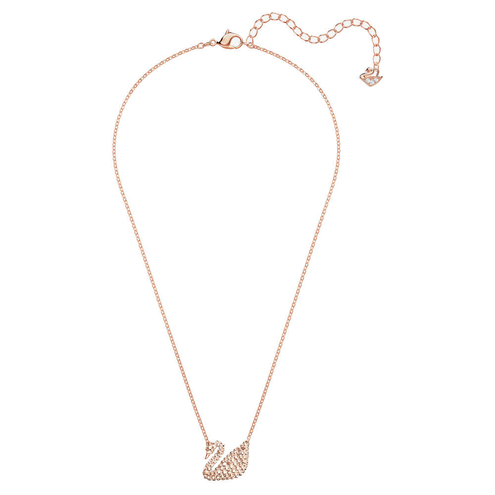 SWAROVSKI ICONIC SWAN PENDANT, WHITE, ROSE GOLD PLATING