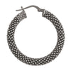 STERLING SILVER BLACK RHODIUM PLATED FANCY MESH HOOP EARRING