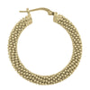 STERLING SILVER YELLOW GOLD PLATED FANCY MESH HOOP EARRING