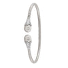 STERLING SILVER RHODIUM PLATED AND PEARL FANCY BANGLE