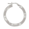 STERLING SILVER RHOIDUM PLATED FANCY HOOP EARRING