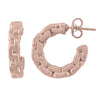 STERLING SILVER PINK GOLD PLATED FANCY HOOP EARRING