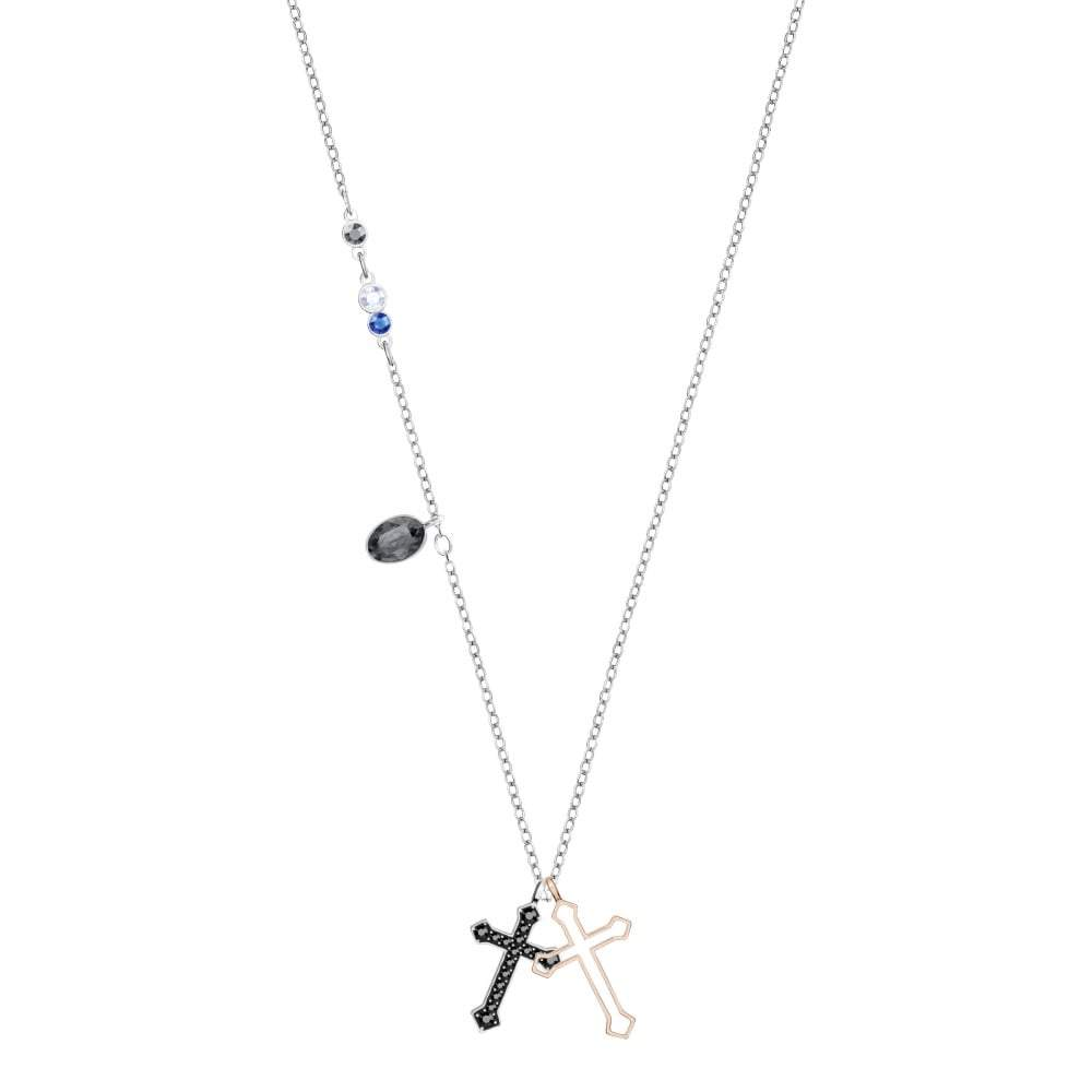 SWAROVSKI DUO MINI CROSS PENDANT, MULTI-COLORED, MIXED PLATING