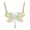 TWO TONE GOLD FILIGRI DRAGONFLY NECKLACE