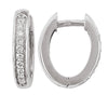 WHITE GOLD DIAMOND OVAL HUGGIE EARRING